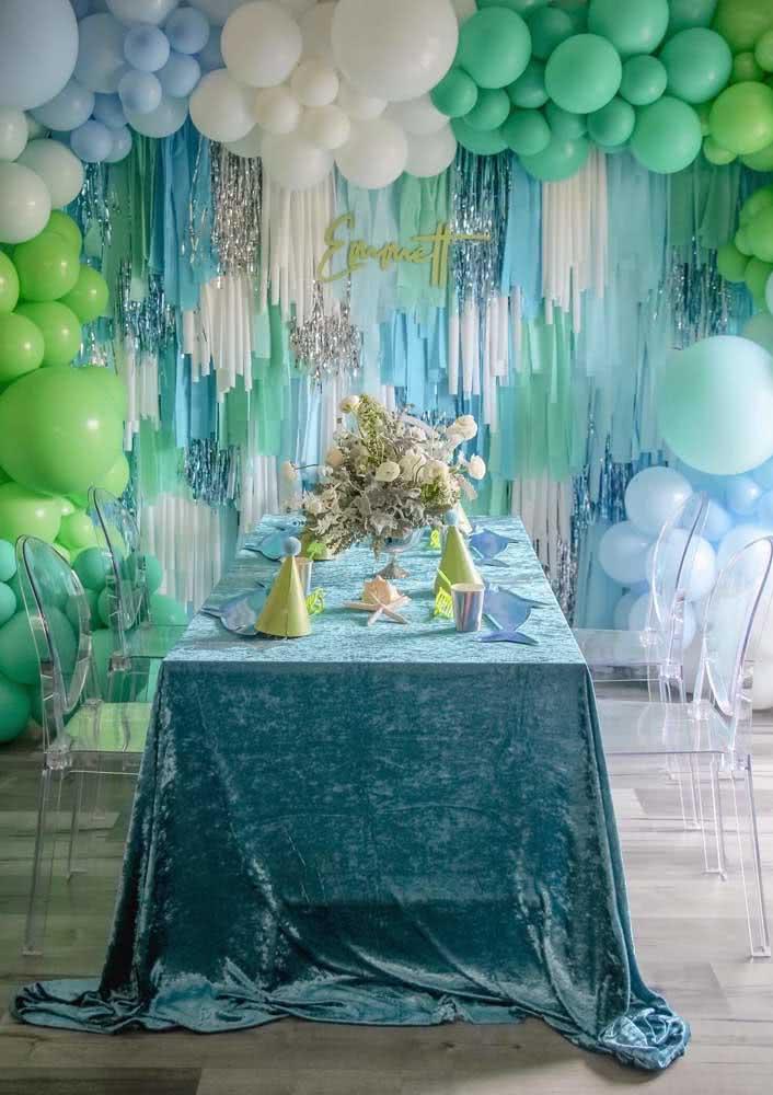 Festa Baby Shark em azul e verde