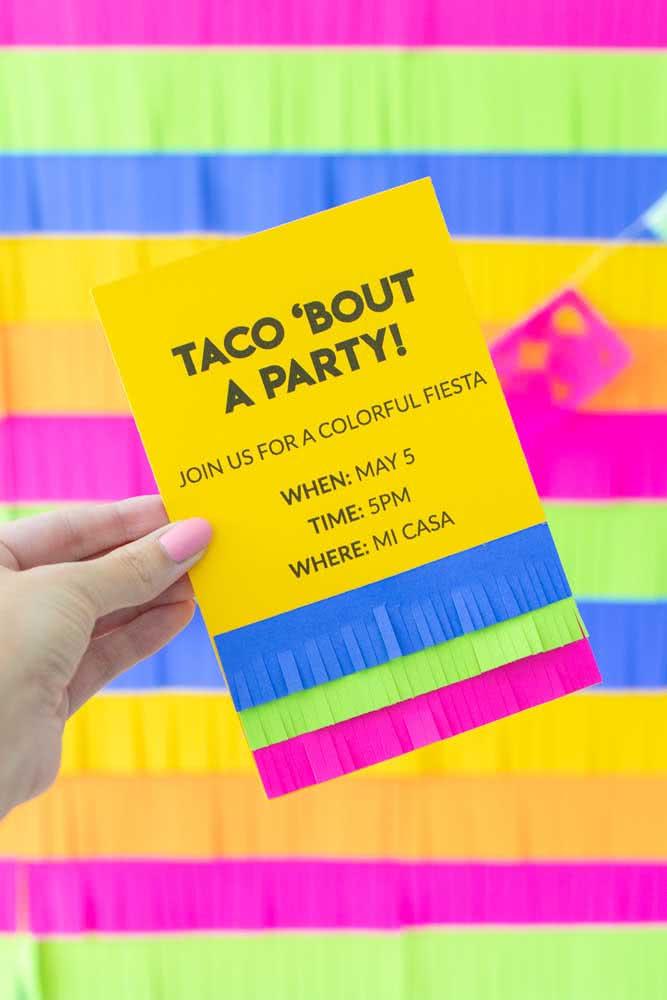 O convite já deixa claro o que vai ter na festa: tacos!