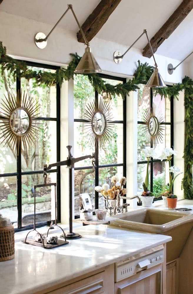 A cozinha também merece uma linda decoração de natal