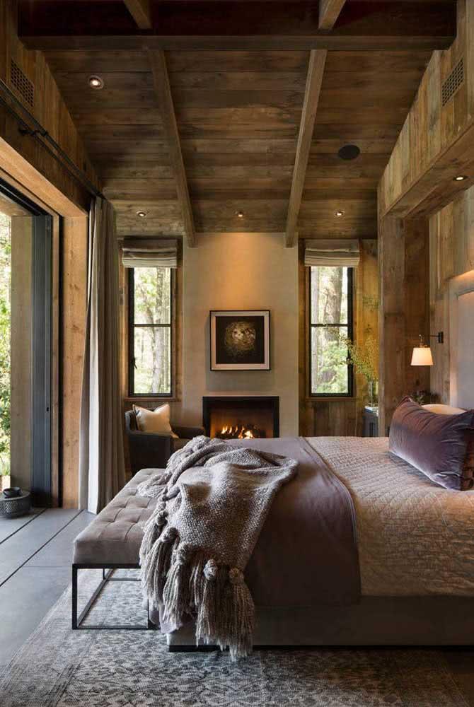 Uma linda e acolhedora roupa de cama para completar o visual do quarto rústico
