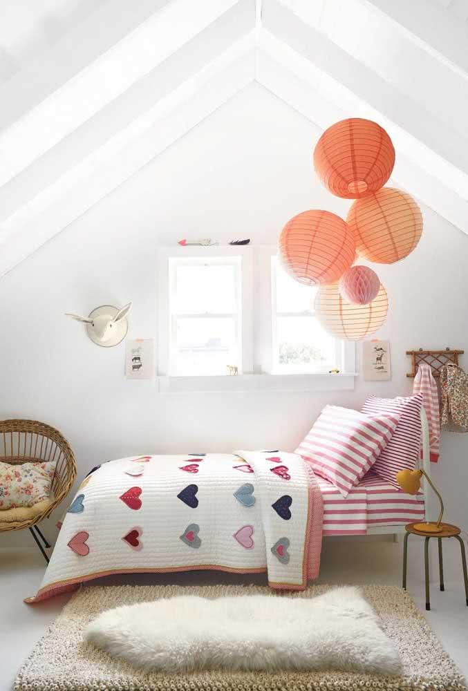 Conjunto de lanternas japonesas laranjas para o quarto infantil: decoração lúdica e moderna