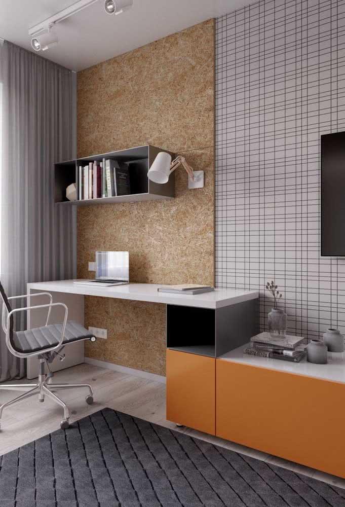 Cantinho de estudo para o quarto com móveis planejados para aproveitar cada centímetro de espaço