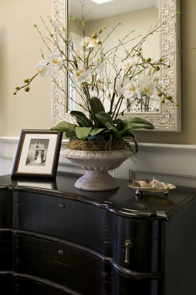 Aquela sofisticação que só um vaso de orquídeas branca pode oferecer