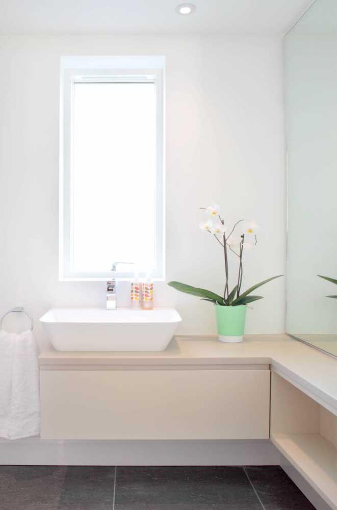Um banheiro com a iluminação que a orquídea branca precisa