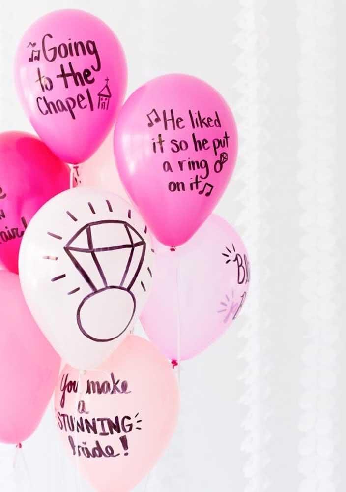 Escreva mensagens divertidas nos balões