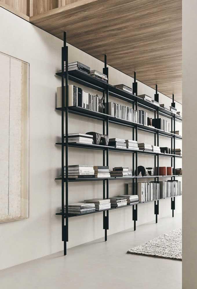 Prateleira industrial estilo estante para organizar sua biblioteca particular