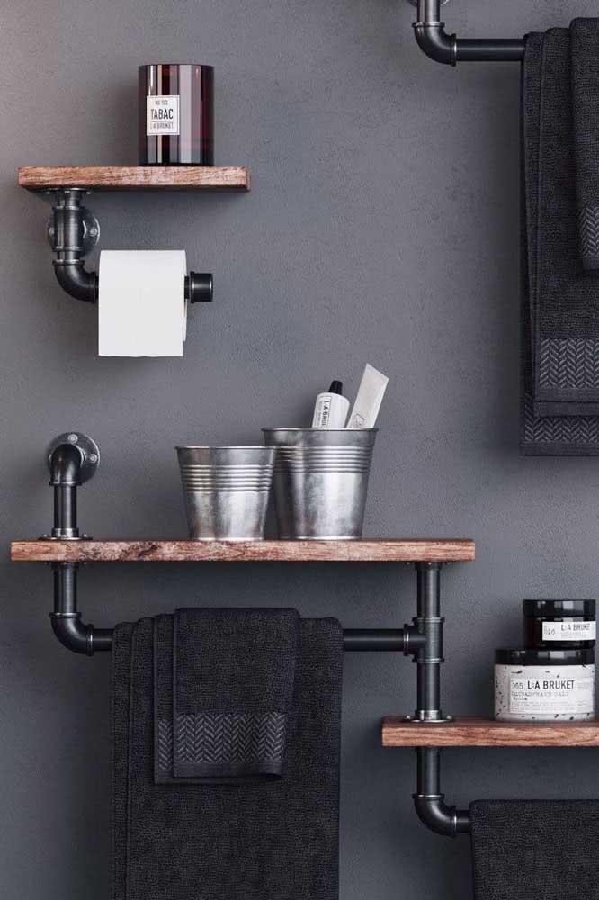 Prateleira industrial no banheiro: traga estilo e beleza para esse ambiente da casa