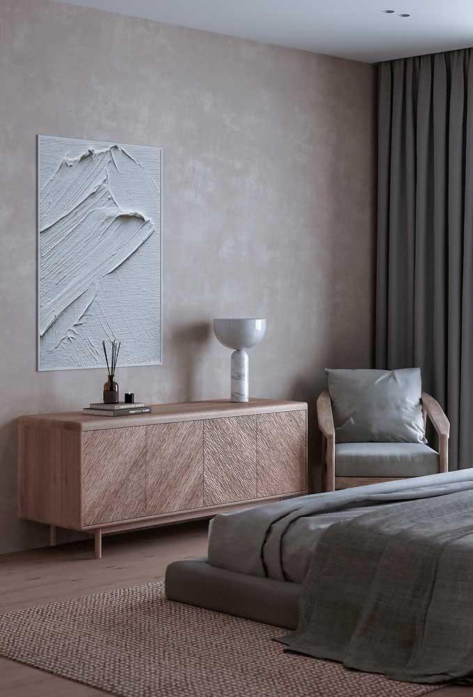 Madeira, pérola e cinza esverdeado para um quarto elegante e super aconchegante