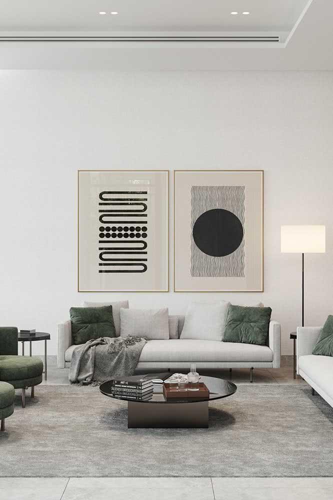 Cor pérola na decoração moderna. Para isso, combine a cor com tons de preto e cinza