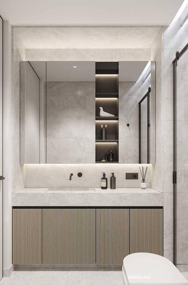 Banheiro moderno decorado com a cor pérola