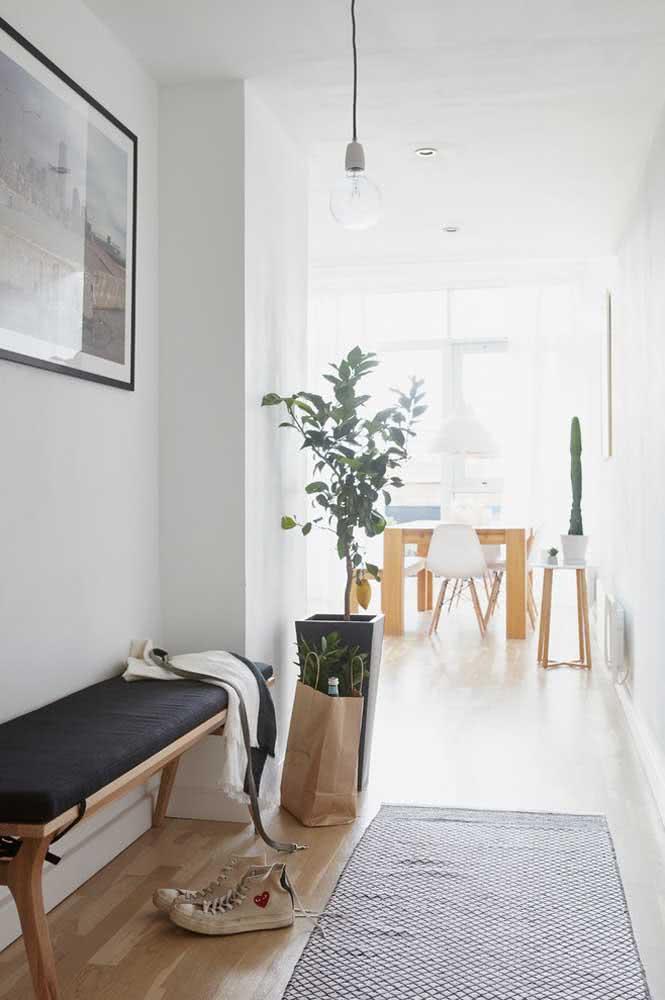 Tapete preto e branco simples para entrada da casa