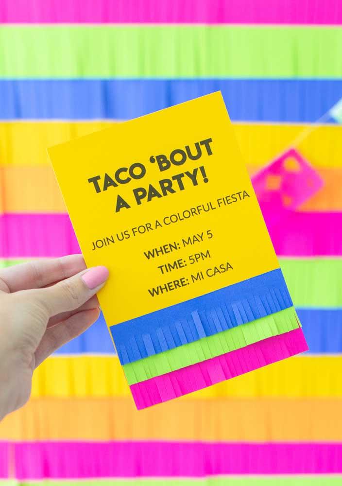 Modelo de convite simples para noite mexicana. Faça e distribua para os amigos