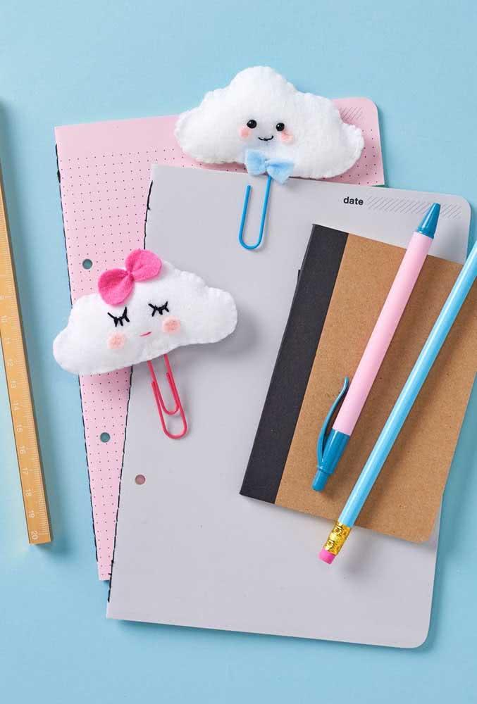 Nuvens de feltro para deixar suas anotações mais bonitas e divertidas