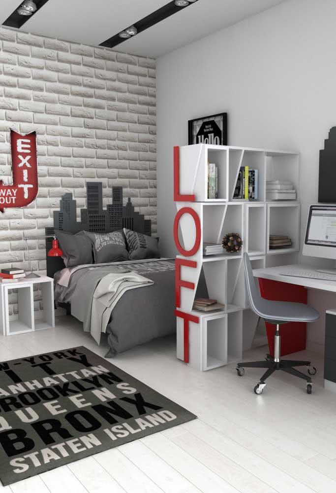 Decoração de quarto de adolescente masculino cinza.