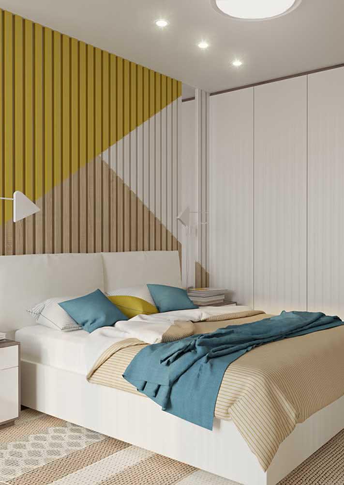 Além de ter uma proposta de cores para as paredes e móveis planejados, você pode utilizar do recurso também na roupa de cama escolhida.