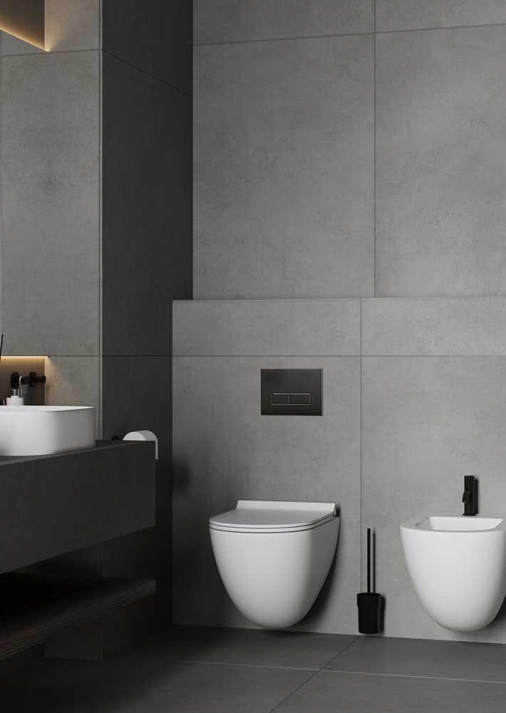 Banheiro com porcelanato cinza nas paredes e no piso: modernidade e sofisticação