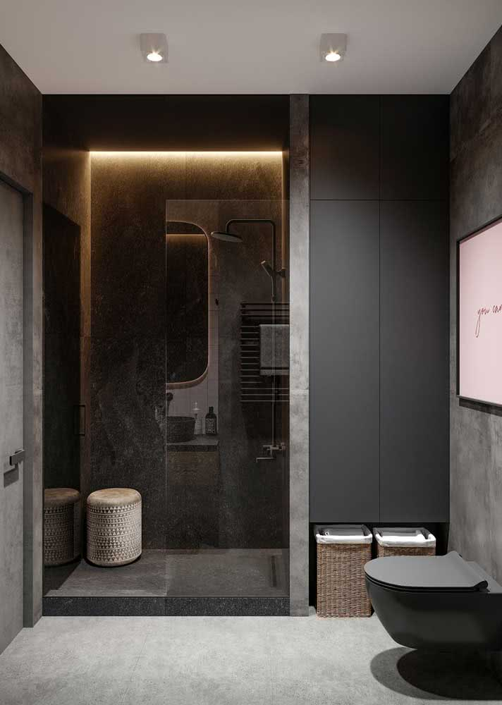 Banheiro cinza e preto: um sonho de consumo moderno