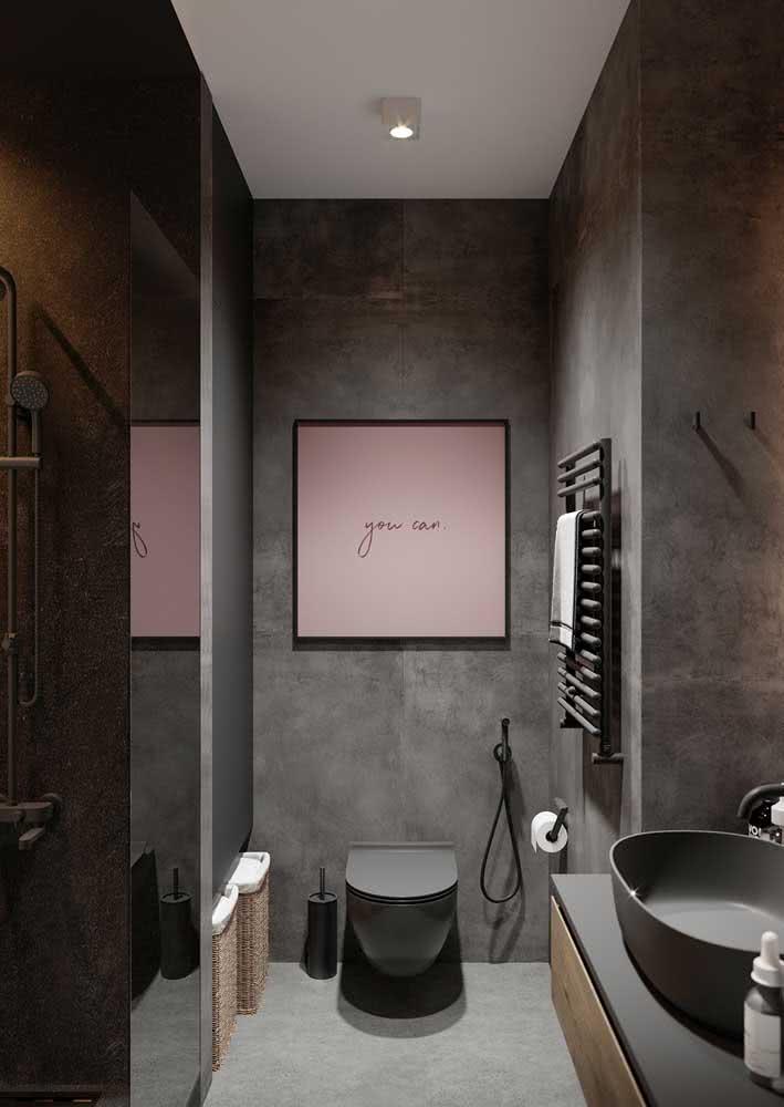 O quadro rosa traz descontração ao projeto