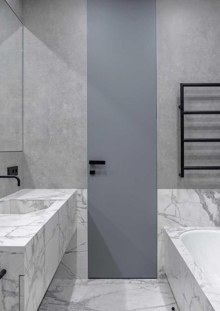Chiquérrimo, o cinza desse banheiro vem dos veios do mármore