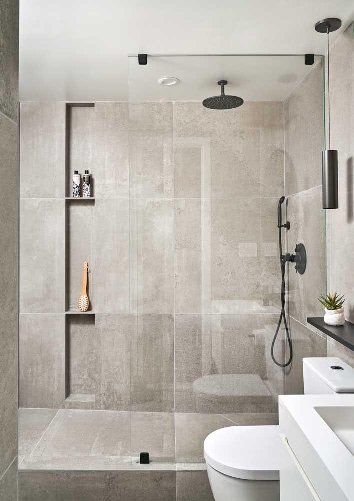 Banheiro cinza claro para quem deseja um ambiente clean e elegante