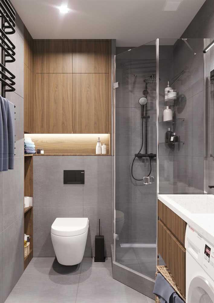 Banheiro cinza com madeira: o mix perfeito de sensações