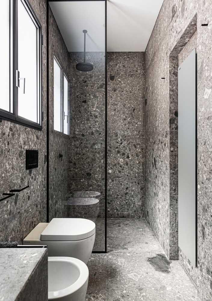Granilite cinza para um banheiro moderno