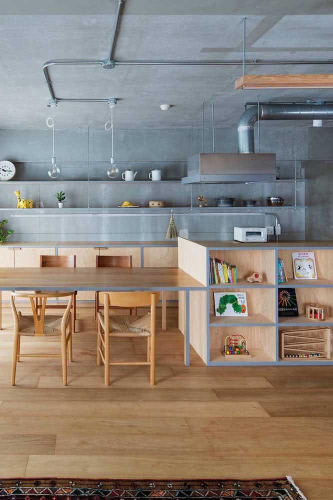 Cozinha de madeira em estilo industrial