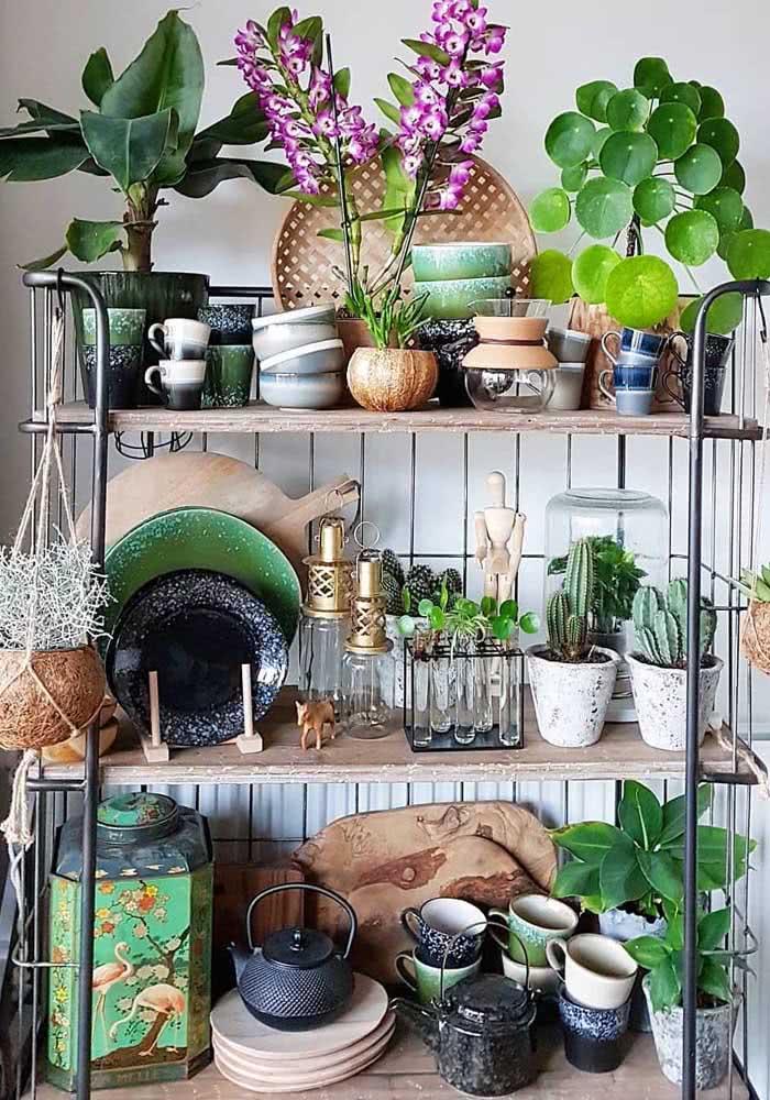 Em meio a pratos e tigelas, o vaso de orquídea bambu lilás se destaca