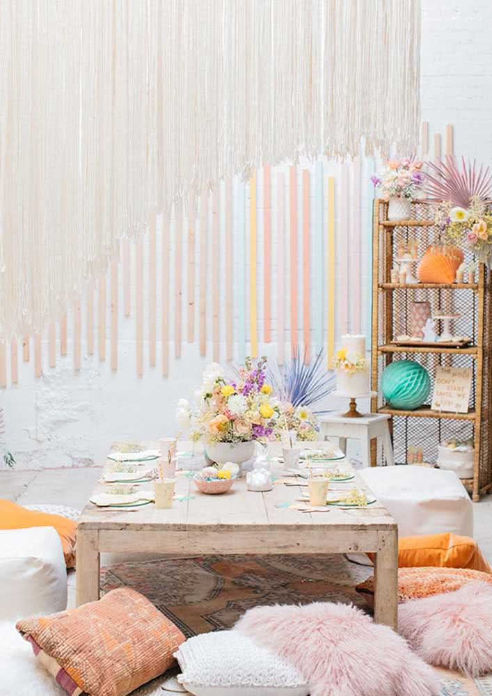 Decoração de mesa de páscoa simples e rústica