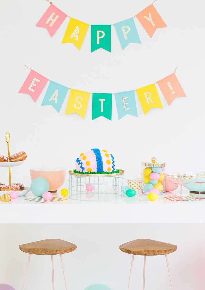 Mesa de páscoa colorida para alegrar as crianças