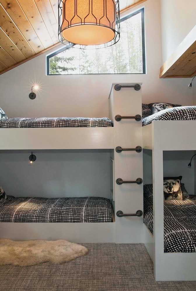 Beliche planejada de alvenaria para o dormitório compartilhado