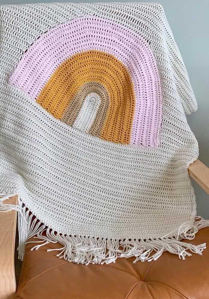 Manta de crochê arco-íris