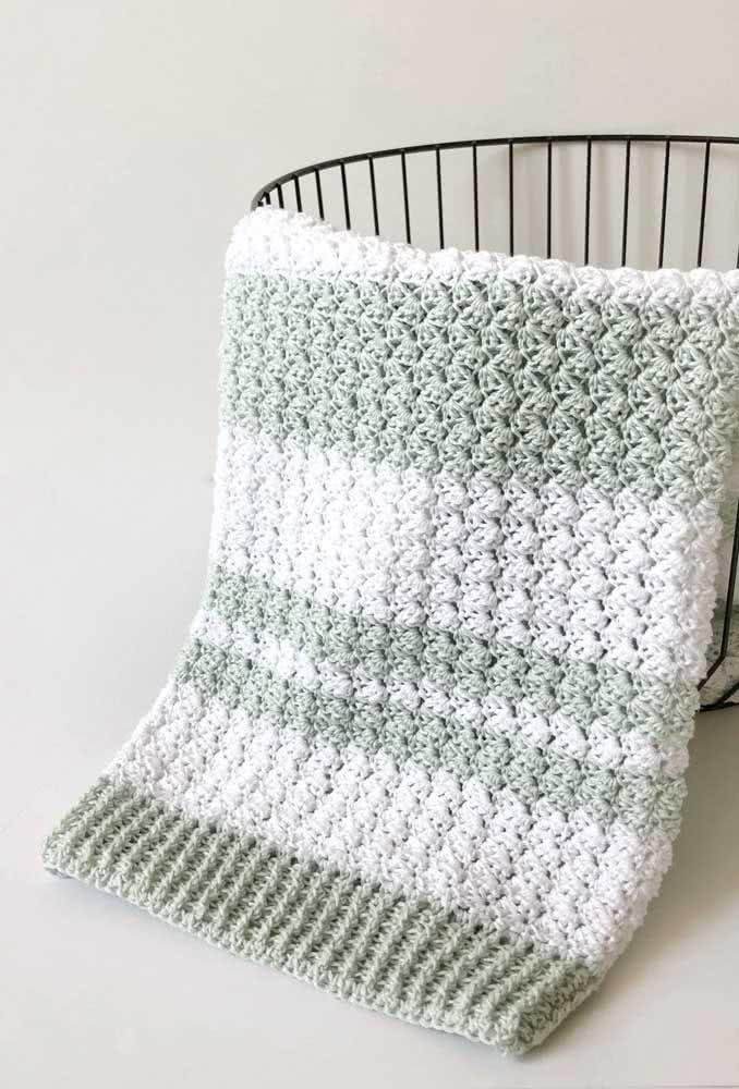 Manta de crochê para bebê em duas cores neutras e suaves