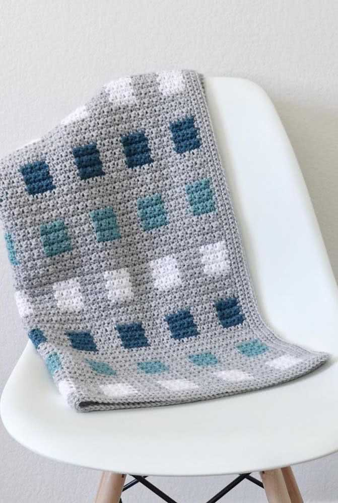 Estampa de quadradinhos azuis