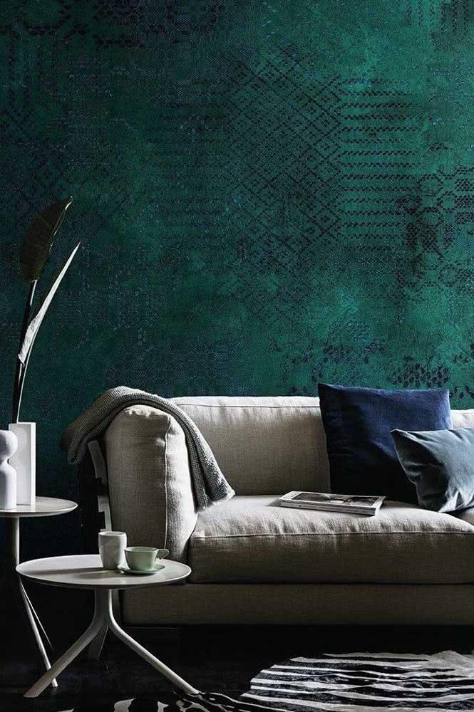Textura de parede na sala na cor verde água e azul.