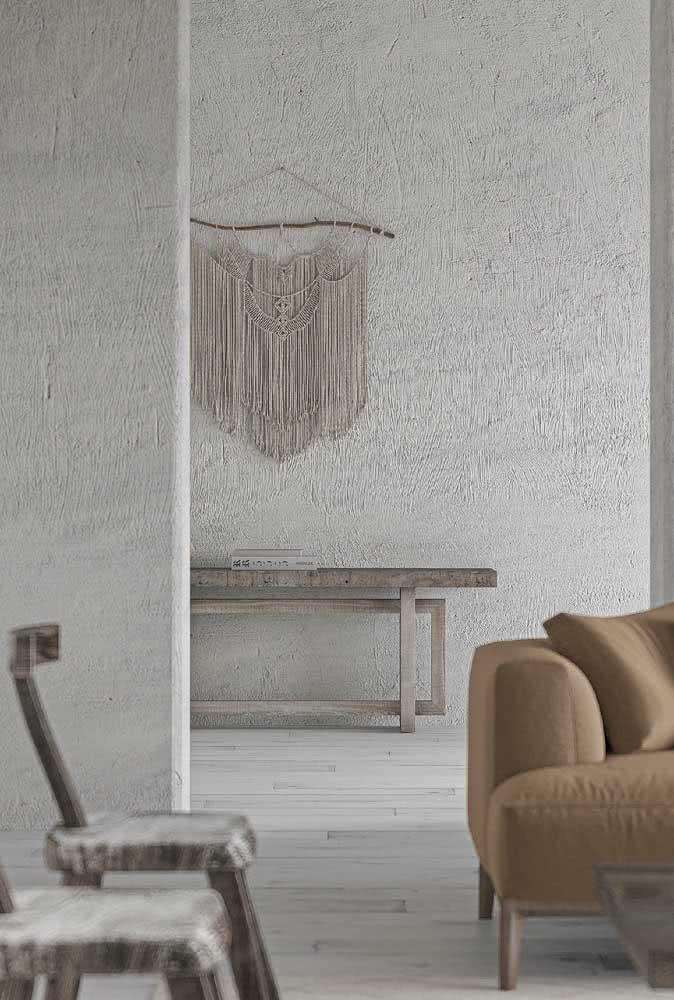Textura de parede chapiscada para toda a residência.