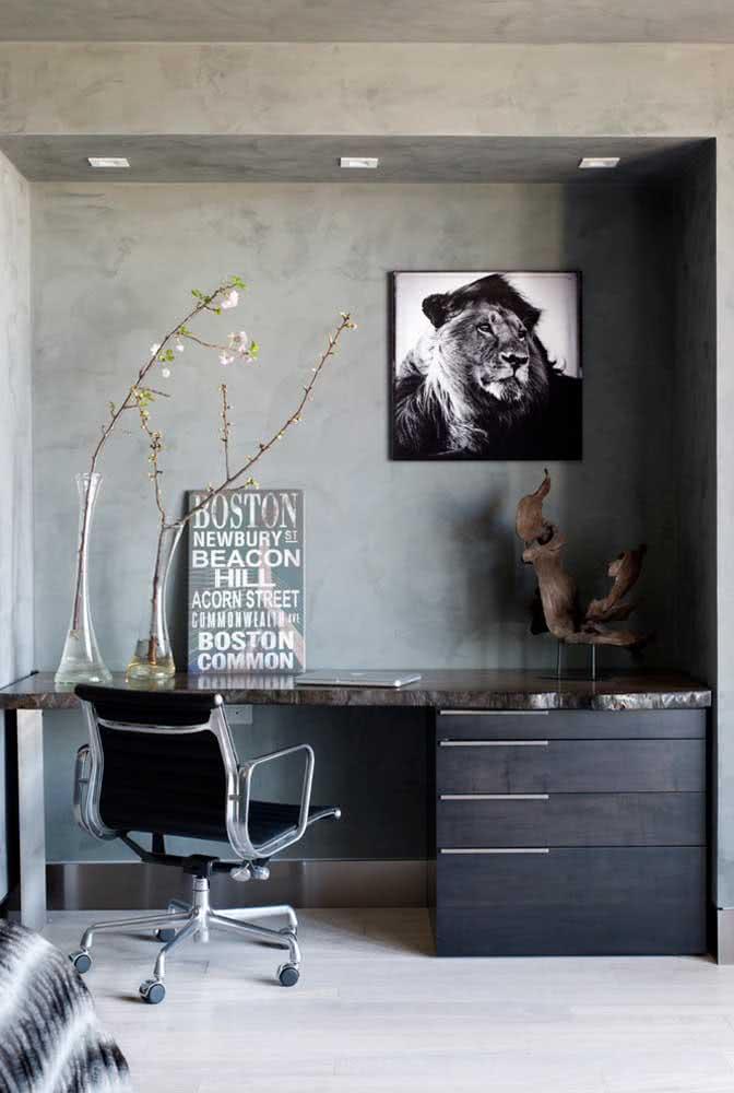 Textura de parede cimento queimado para o home office cheio de estilo.