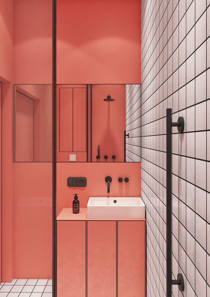 Banheiro rosa, branco e preto: moderno e jovial