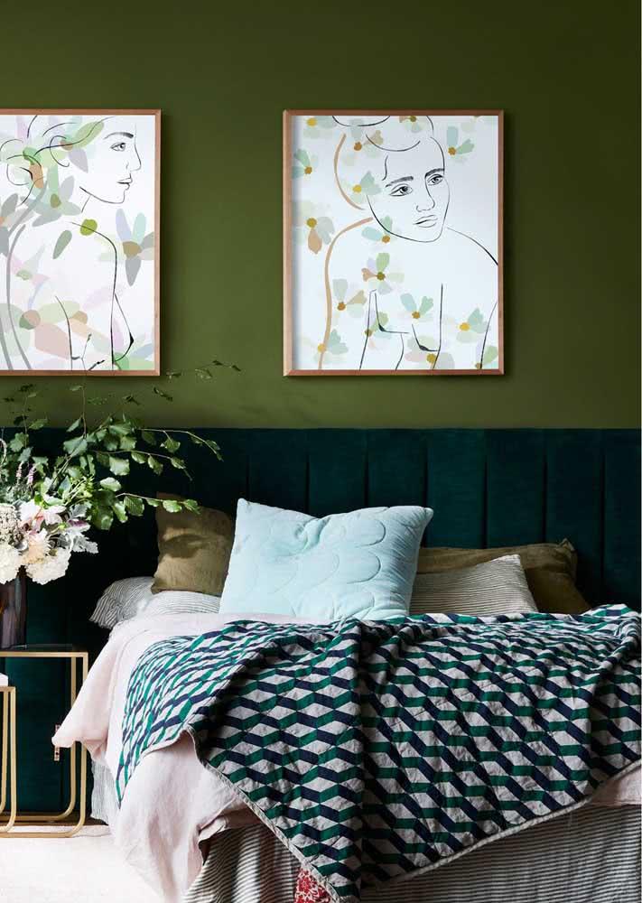 Verde no quarto para relaxar e renovar as energias