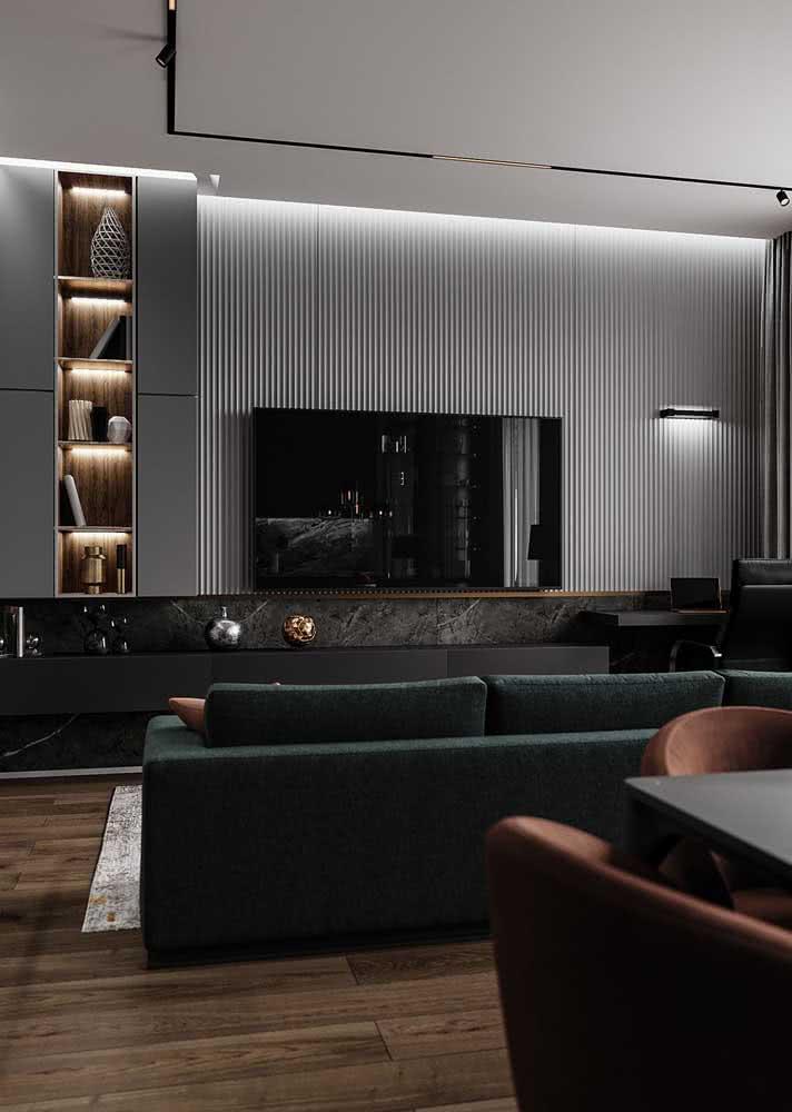 Uma sala chique e moderna em tons de preto e cinza