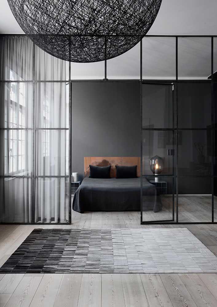 Quarto moderno em tons de preto e cinza