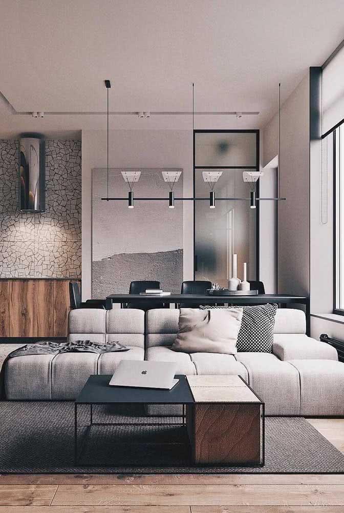 Aqui, o conforto do sofá sem braço fica garantido com o chaise