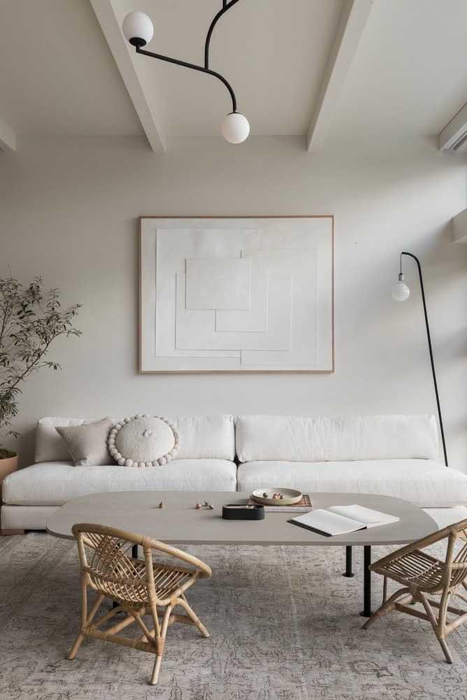 Sofá sem braço clean e minimalista como pede essa sala de estar