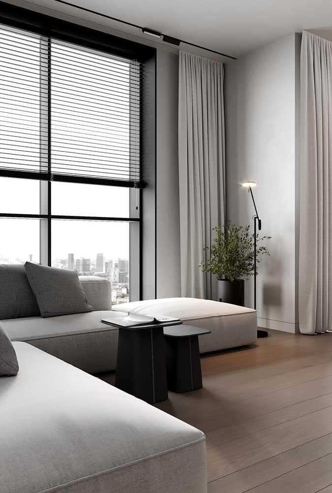 Clean, elegante e a cara de uma sala minimalista