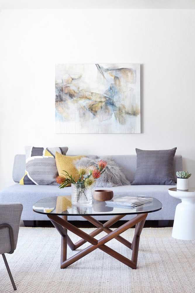 Sofá sem braço com tecido estampado para sala de estar