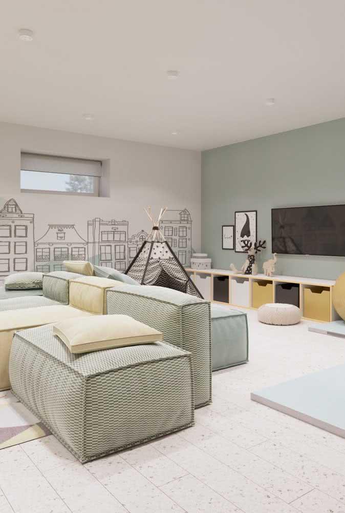 Macio e confortável, o sofá sem braço também fica lindo em ambientes infantis