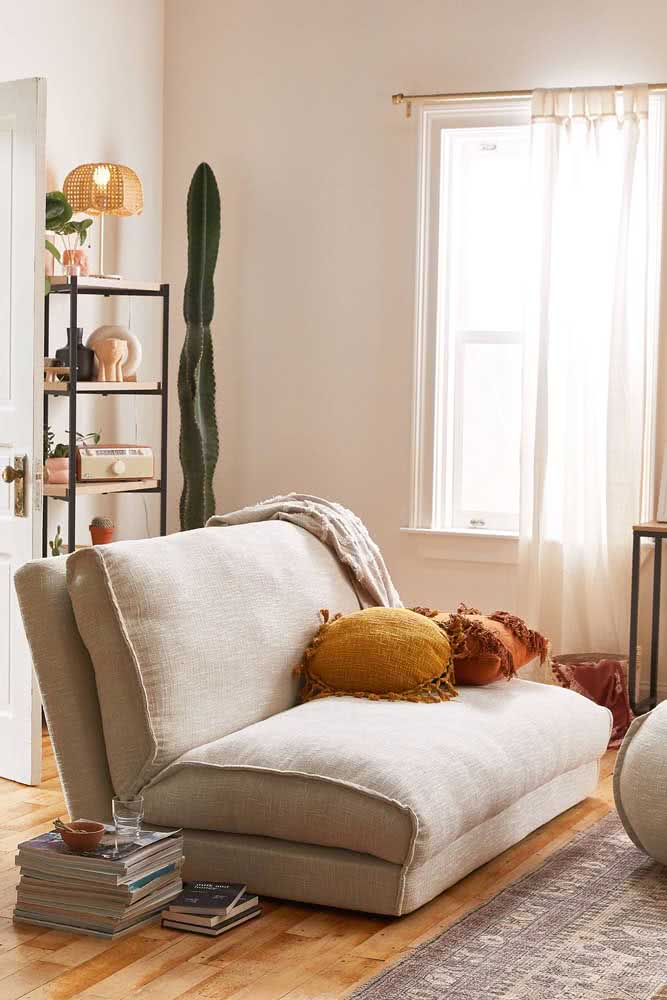Sofá cama sem braço. Multifuncionalidade para ambientes pequenos