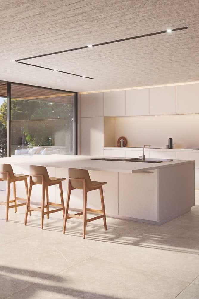 Piso porcelanato retificado branco para a cozinha moderna