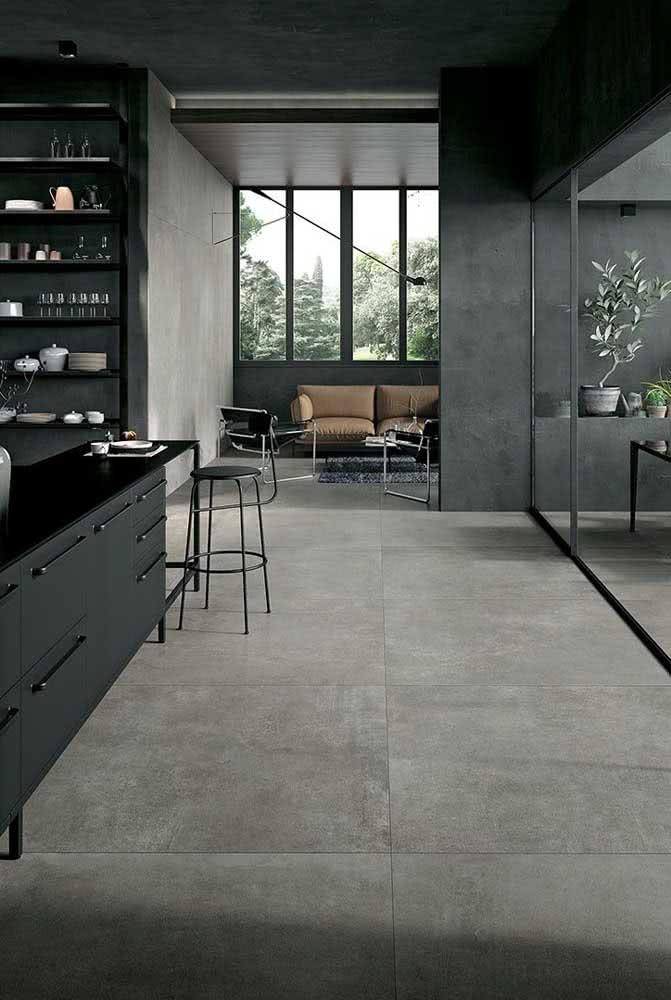 Porcelanato retificado cinza fosco para a cozinha de estilo moderno