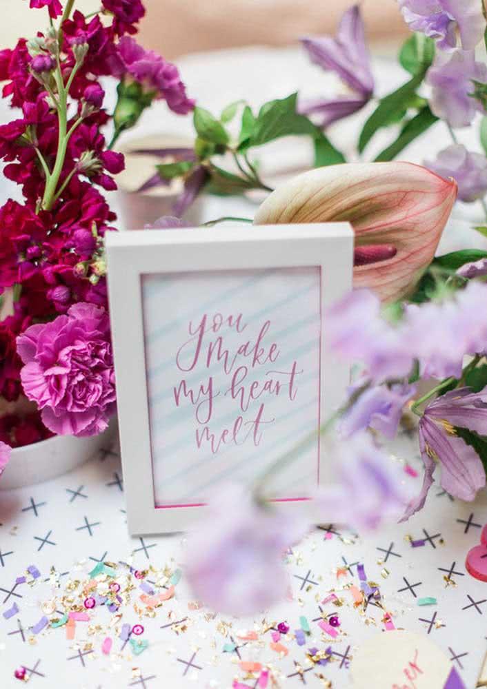 Mensagens românticas e delicadas também são bem vindas